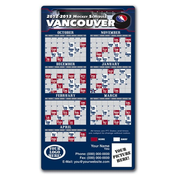 """Vancouver Canucks Pro Hockey Schedule Magnets 4"""" x 7"""""""