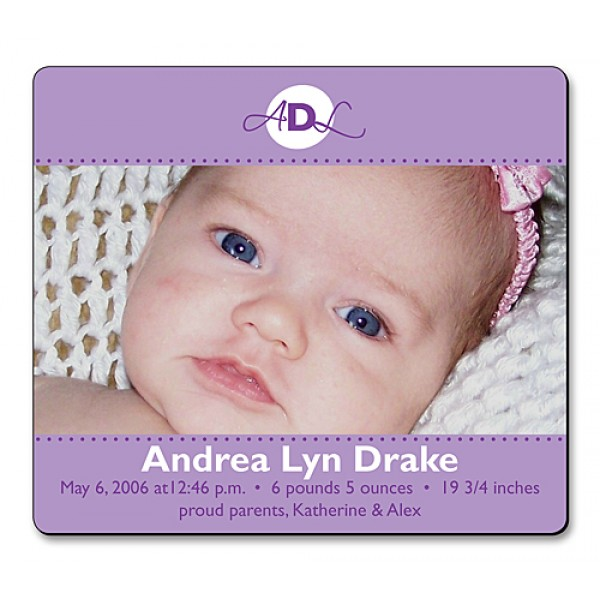 "3.5"" x 4"" Custom Baby Announcement Magnets - Violet Design"