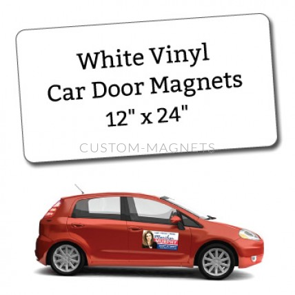 white vinyl magnetic car sign 12 x 24 custom magnets