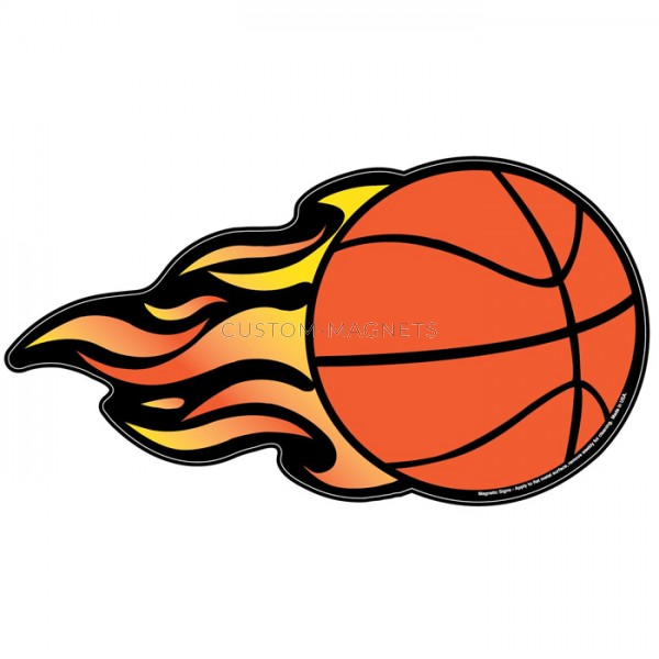 Basketball W Flames Magnetic Car Sign X CustomMagnets - Custom basketball car magnets