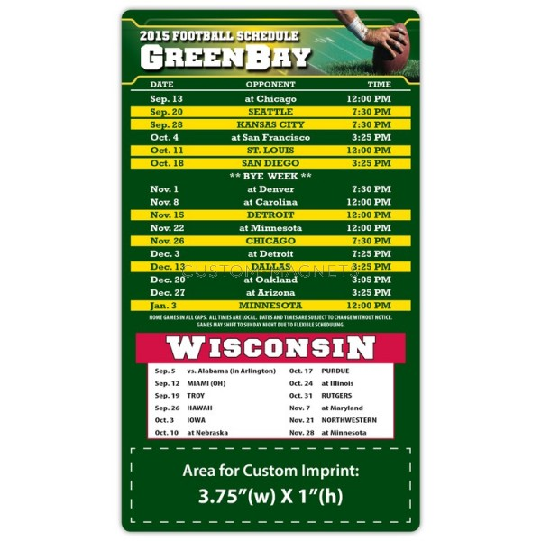 Green Bay Packers Pro Football Schedule Magnets 4 X 7 Custom Magnets