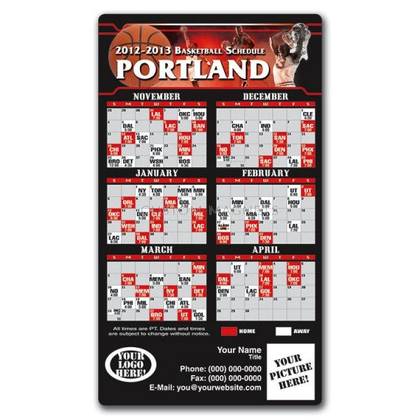 Portland Blazers Schedule: Portland Trail Blazers Basketball Team Schedule Magnets 4