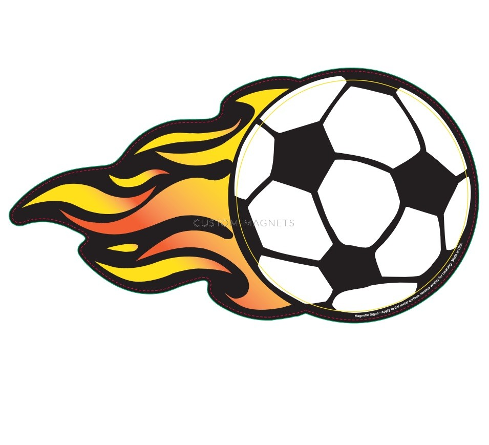Soccer Ball W Flames Magnetic Car Sign 5 Quot X 9 4375