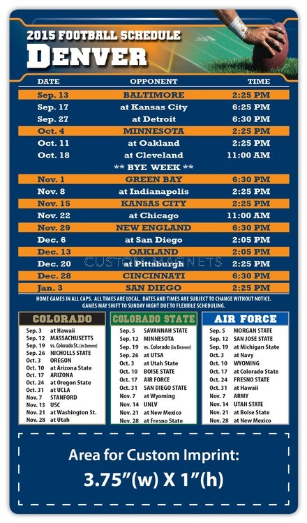 Denver Broncos Pro Football Schedule Magnets 4 Quot X 7