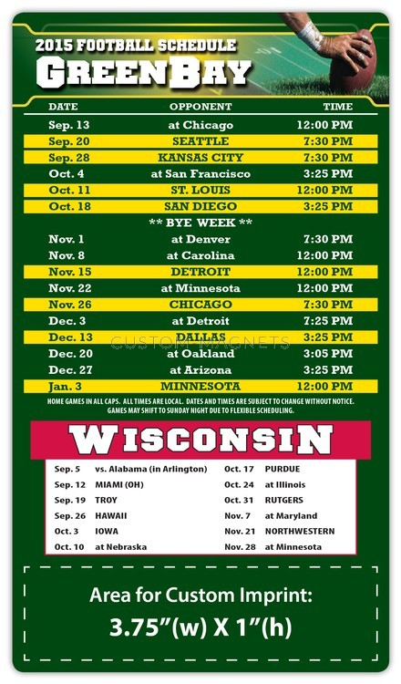 Green Bay Packers Pro Football Schedule Magnets 4 Quot X 7