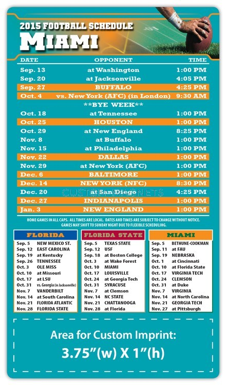 Miami Dolphins Pro Football Schedule Magnets 4 Quot X 7