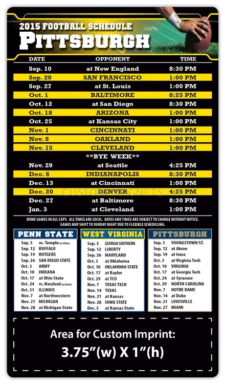 Pittsburgh Steelers Pro Football Schedule Magnets 4 Quot X 7