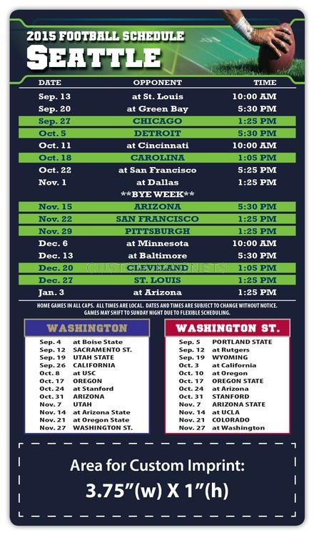 Seattle Seahawks Pro Football Schedule Magnets 4 Quot X 7