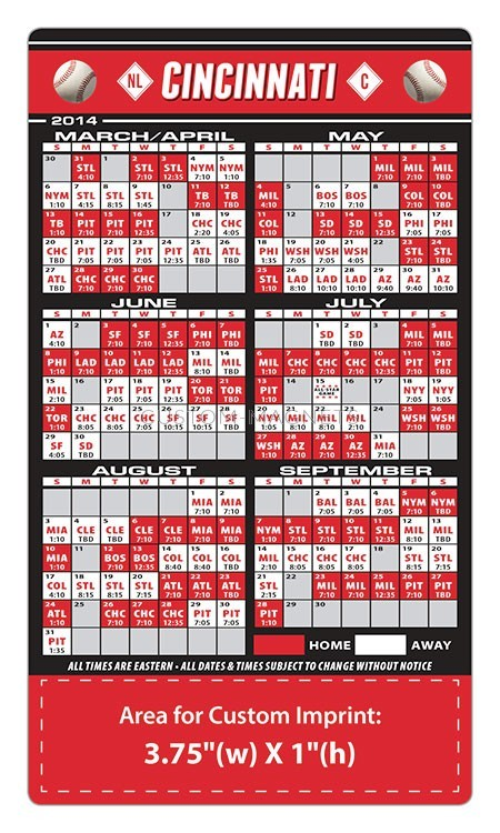 Cincinnati Reds Baseball Team Schedule Magnets 4 Quot X 7