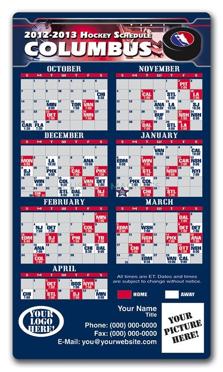 Columbus Blue Jackets Pro Hockey Schedule Magnets 4 Quot X 7