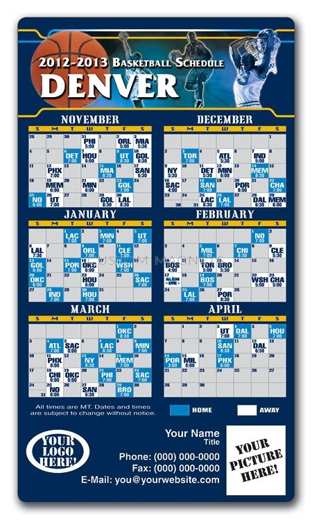 Denver Nuggets Basketball Team Schedule Magnets 4 Quot X 7