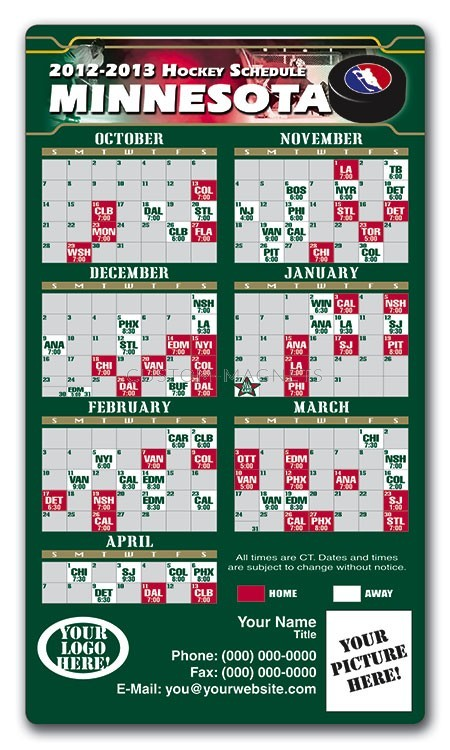 Minnesota Wild Pro Hockey Schedule Magnets 4 Quot X 7