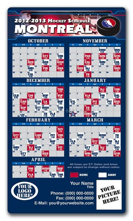 Montreal Canadiens Pro Hockey Schedule Magnets 4 Quot X 7