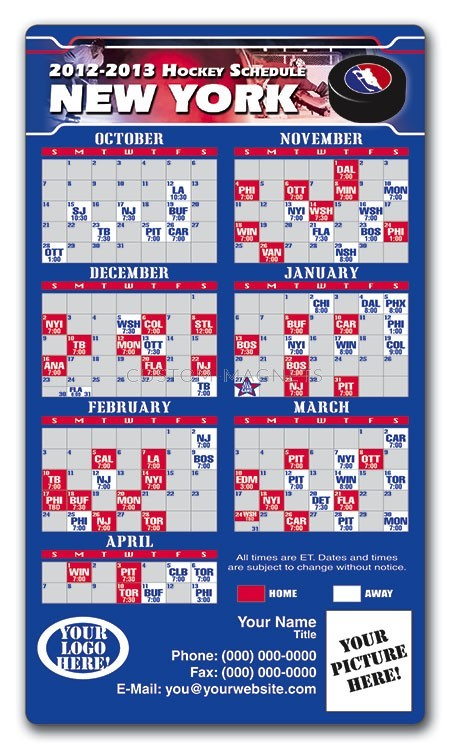 New York Rangers Pro Hockey Schedule Magnets 4 Quot X 7