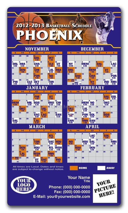 Phoenix Suns Basketball Team Schedule Magnets 4 Quot X 7
