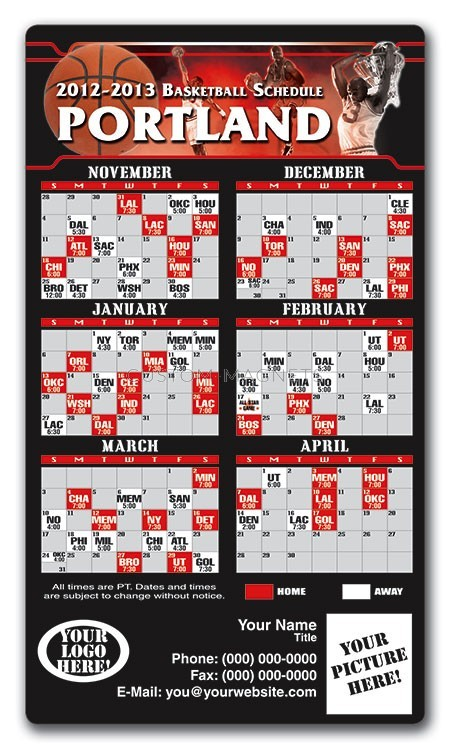 Portland Trail Blazers Basketball Team Schedule Magnets 4