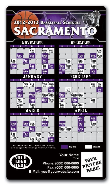 Sacramento Kings Basketball Team Schedule Magnets 4 Quot X 7