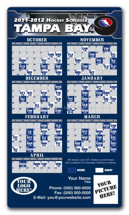 Tampa Bay Lightning Pro Hockey Schedule Magnets 4 Quot X 7