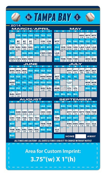 Tampa Bay Rays Baseball Team Schedule Magnets 4 Quot X 7