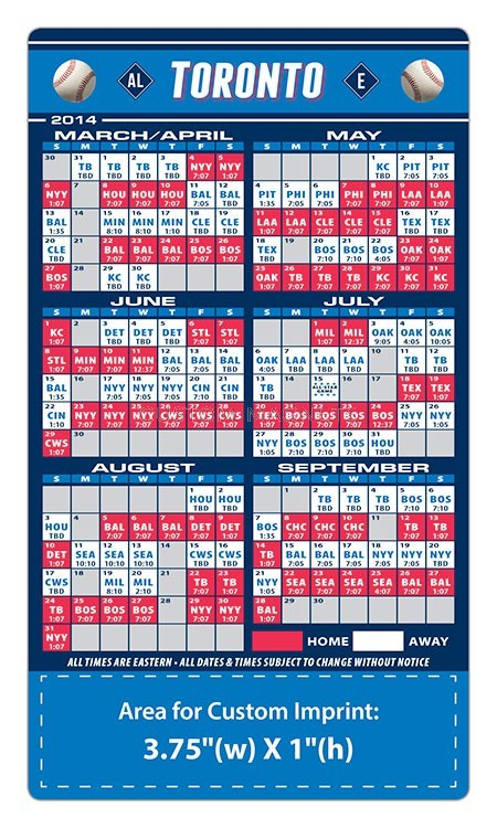 Toronto Blue Jays Baseball Team Schedule Magnets 4 Quot X 7