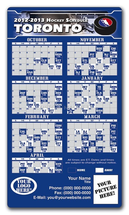 Toronto Maple Leafs Pro Hockey Schedule Magnets 4 Quot X 7