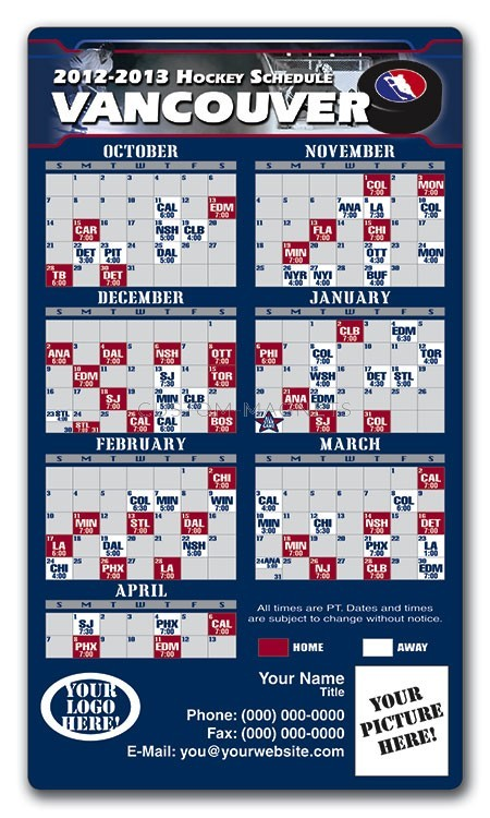 Vancouver Canucks Pro Hockey Schedule Magnets 4 Quot X 7
