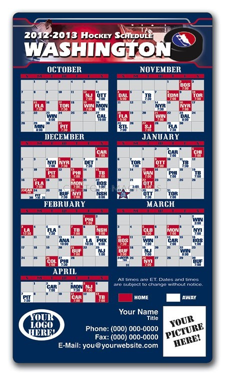 Washington Capitals Pro Hockey Schedule Magnets 4 Quot X 7