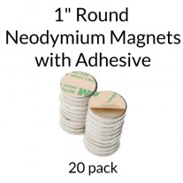 "Neodymium Magnets with Adhesive - 1"" Round"