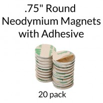 "Neodymium Magnets with Adhesive - .75"" Round"