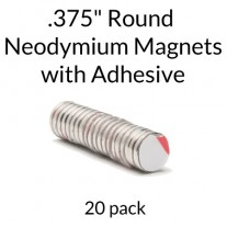 "Neodymium Magnets with Adhesive - .375"" Round"