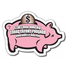 "Piggy Bank Shaped Magnets 3.5"" x 2.5"""