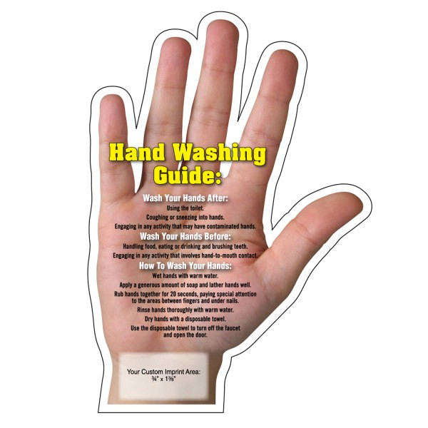 """Hand Washing Tips"" Hand Shaped Magnets 4.25"" x 6"""