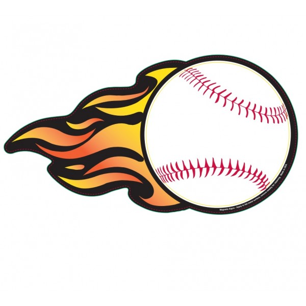 "Baseball w/ Flames Magnetic Car Sign - 5"" x 9.4375"""