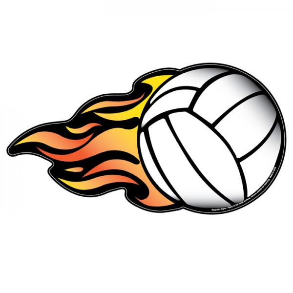 "Volleyball w/ Flames Magnetic Car Sign - 5"" x 9.4375"""