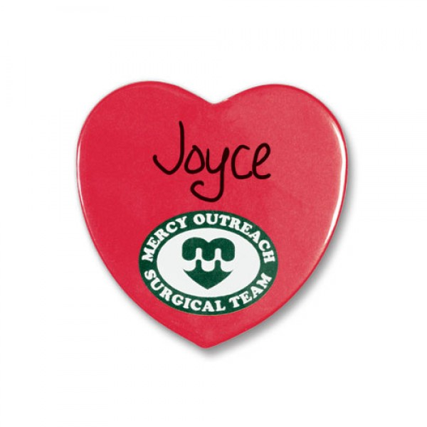 Custom Heart Metal Button Magnets 2.25""