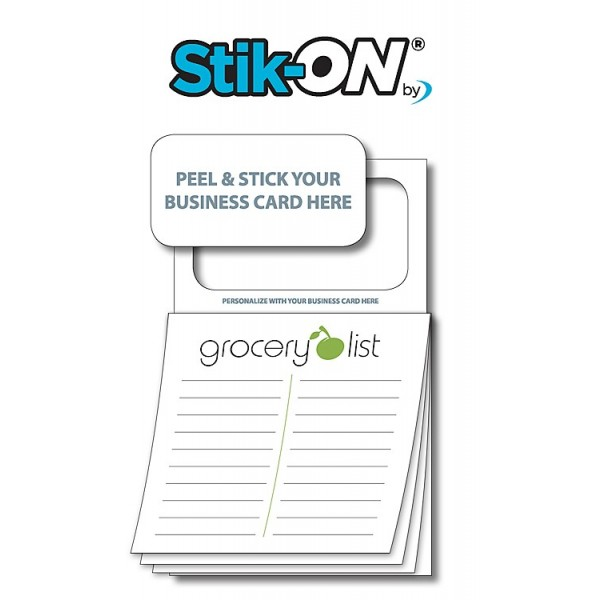 "Peel-n-Stick Business Card Magnetic Sticky Notes - ""Grocery List"""