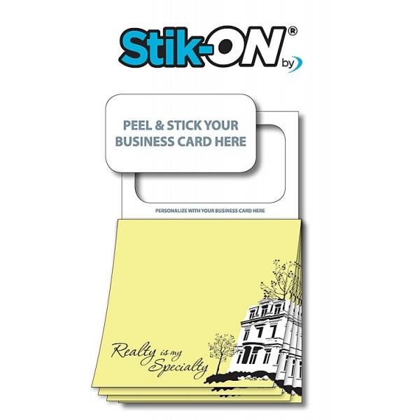 "Peel-n-Stick Business Card Magnetic Sticky ""Realty"" Notes"