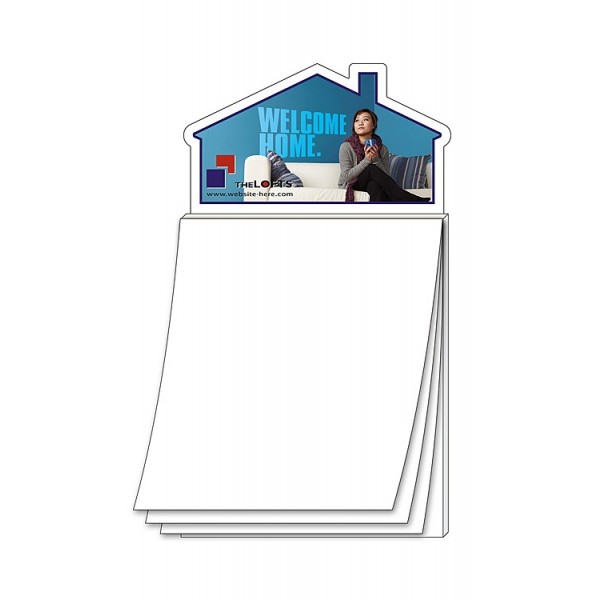 Custom House Shaped Magnet with Blank Notepad