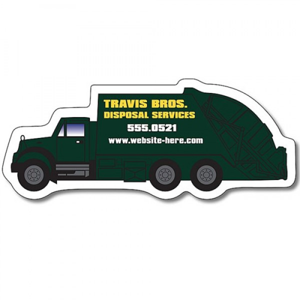 "Custom Trash Truck Shaped Magnets - 4.25"" x 1.75"""