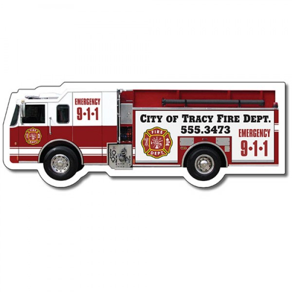"Custom Firefighter Truck Shaped Magnets - 5.125"" x 1.9"""