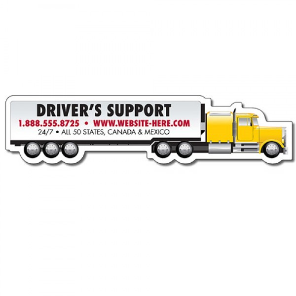 "Custom Big Rig Semi Truck Shaped Magnets - 6.625"" x 1.58"""
