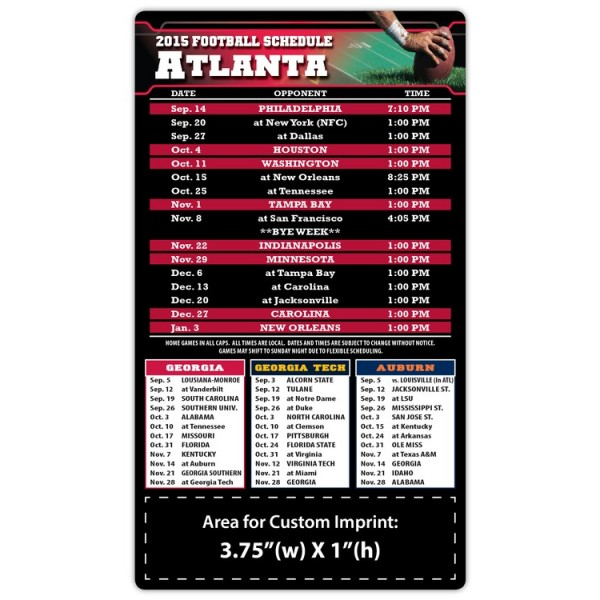 "Atlanta Falcons Pro Football Schedule Magnets 4"" x 7"""