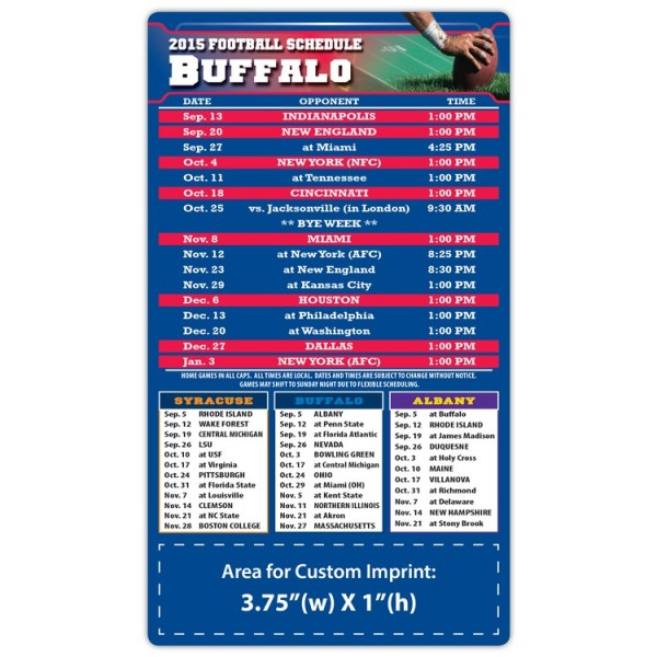 "Buffalo Bills Pro Football Schedule Magnets 4"" x 7"""