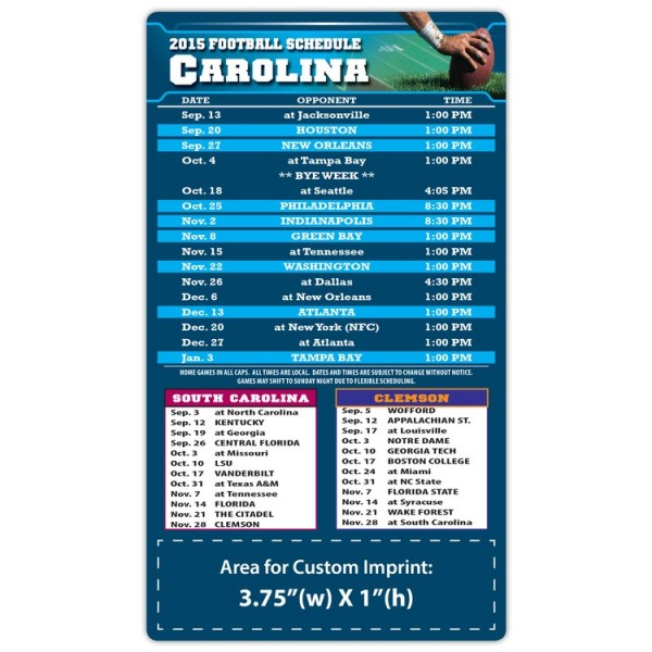 "Carolina Panthers (South) Pro Football Schedule Magnets 4"" x 7"""