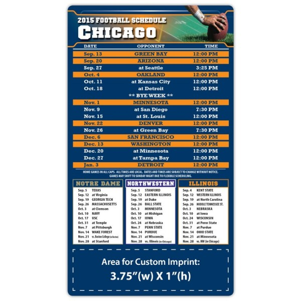 "Chicago Bears Pro Football Schedule Magnets 4"" x 7"""