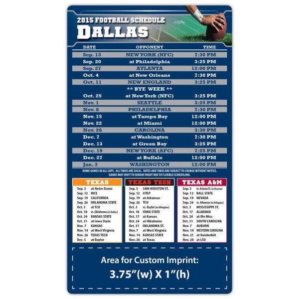 "Dallas Cowboys (TTU) Pro Football Schedule Magnets 4"" x 7"""
