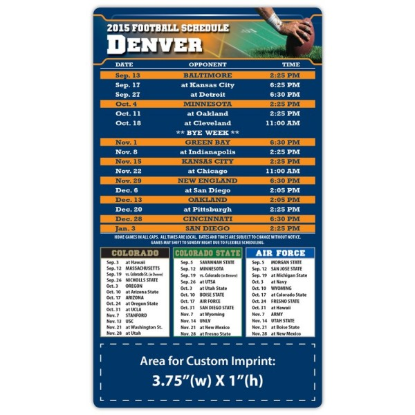 "Denver Broncos Pro Football Schedule Magnets 4"" x 7"""