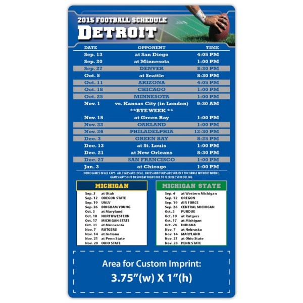 "Detroit Lions Pro Football Schedule Magnets 4"" x 7"""