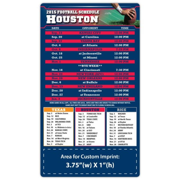 "Houston Texans Pro Football Schedule Magnets 4"" x 7"""