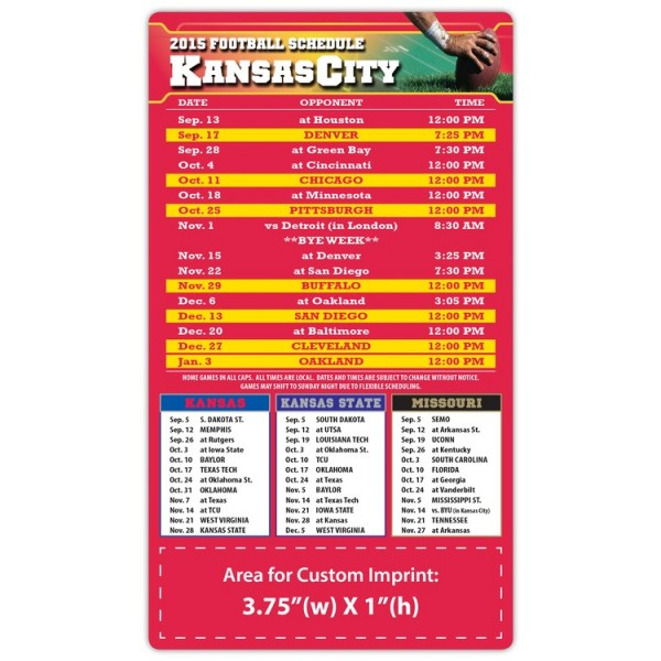 "Kansas City Chiefs Pro Football Schedule Magnets 4"" x 7"""